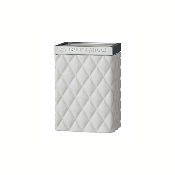 Šepetėlių indelis PORTIA 8x6x11h baltas