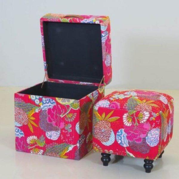 Banketė su dėže BOHO 47x47x52h spalvota