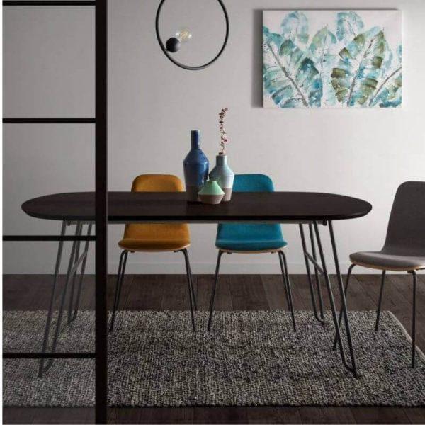 Išskleidžiamas stalas MILIAN 170(320)x100x75h juodai pilkas0)x100x75h juodai pilkas