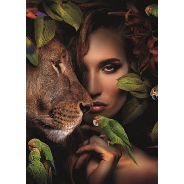 Paveikslas WOMAN WITH LION 100x100h