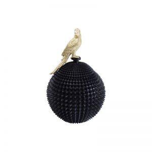 Dekoracija dėžutė PAROT 26x26x40.3h juoda su auksu. Juodos ir aukso derinys atrodo labai prabangus ir elegantiškas.