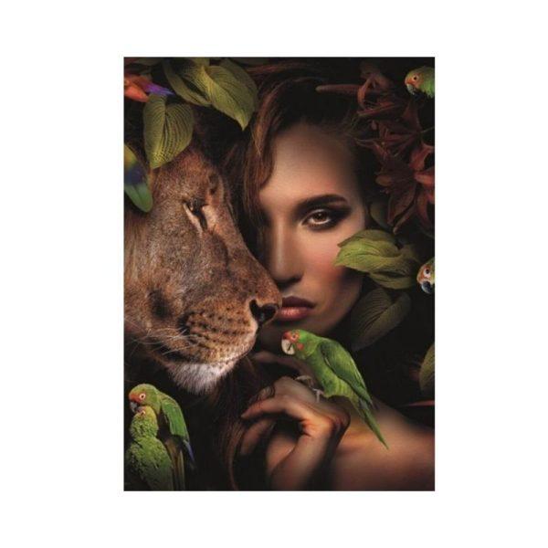 Paveikslas WOMAN WITH LION 100x100h