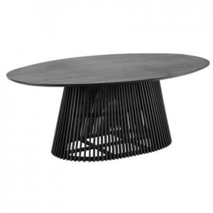 Ovalus stalas IRUNE 200x120x76h juodo medžio