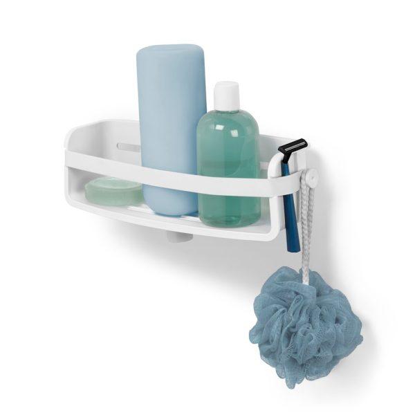 Dušo reikmenų laikiklis FLEX GEL yra balto plastiko, vonios kambarys atrodys tvarkingai ir stilingai, šampūno ir muilo buteliukus galite laikyti apverstus.